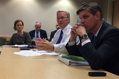 Eric Schmidt, center, executive chairman of Alphabet Inc., the parent company of Google, and chair of the Defense Innovation Advisory Board, speaks to reporters at the Pentagon following the board's second meeting, Jan. 9. 2017. In the meeting, board members approved 11 recommendations aimed at enhancing the Defense Department in technology, culture, operations and processes. DoD photo by