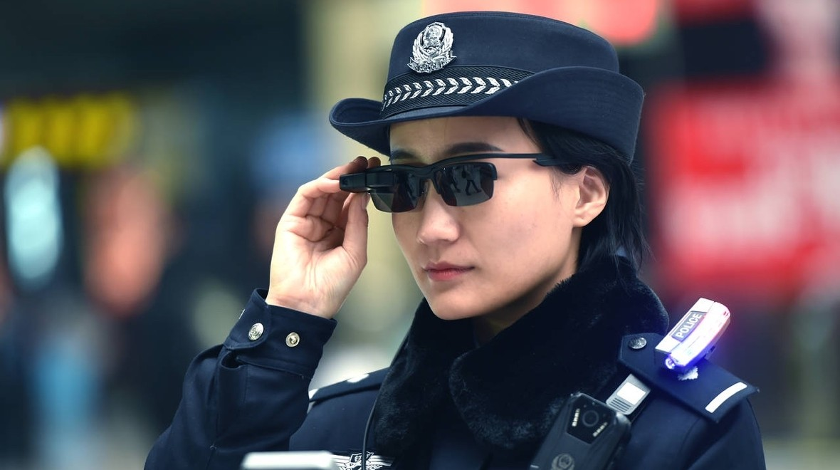 China police with  smart glasses