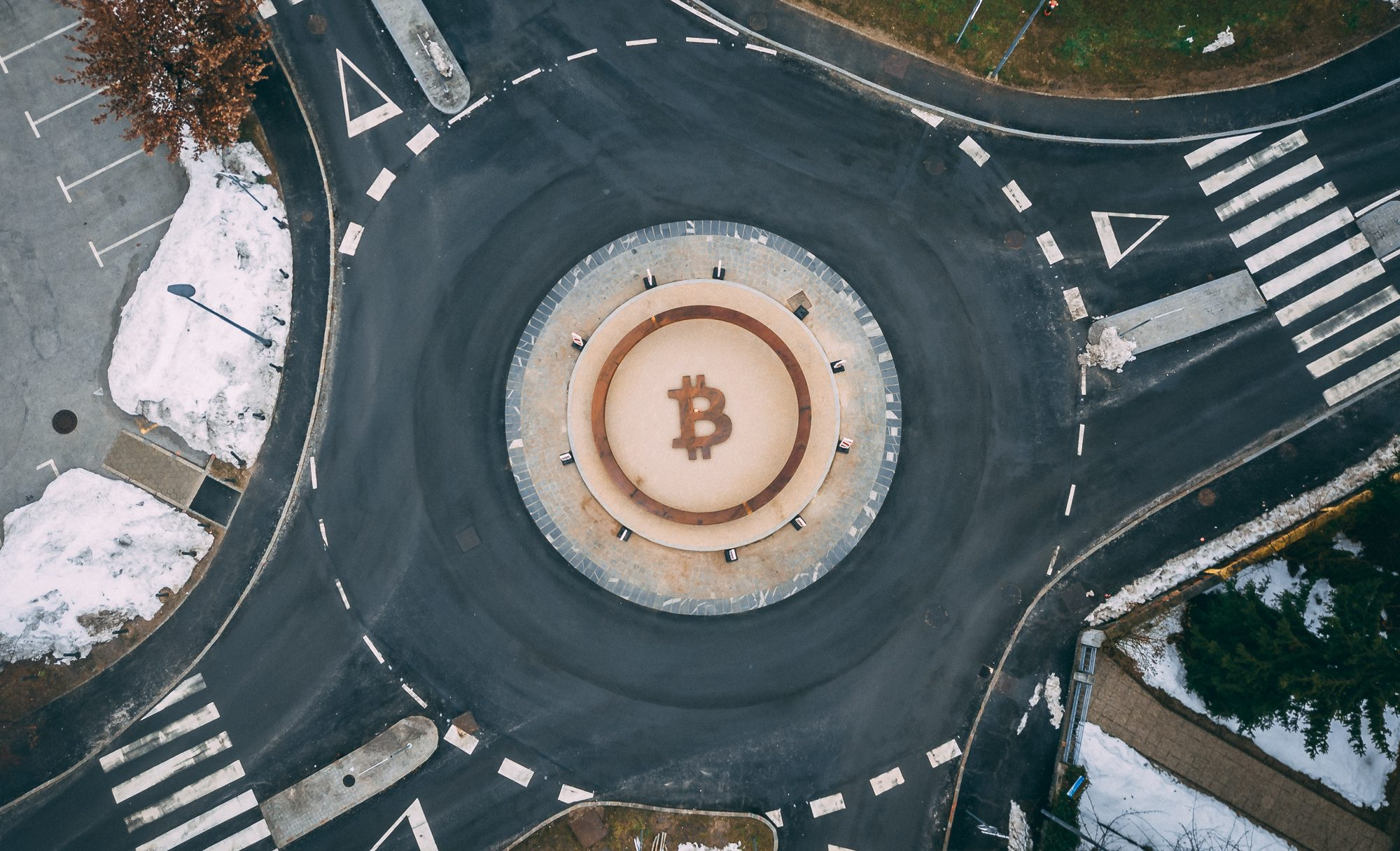 Bitcoin sign / statue at the roundabout in Kranj (Slovenia, Euro